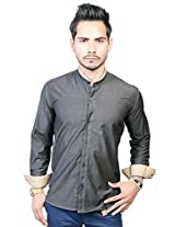 Trendster Double Stiched Grey With Brown Mandarin Collar Full Sleeve Shirt