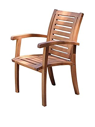 Outdoor Interiors Eucalyptus Luxe Arm Chair, Brown