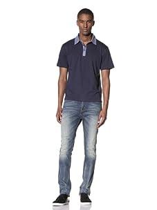 Report Collection Men's Contrast Polo (Indigo)