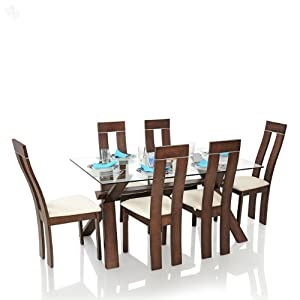 Dining Table Set with 6 Chairs Solid Wood - Sleek
