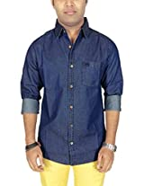 AA' Southbay Mens Blue Denim Long Sleeve Solid Casual Shirt