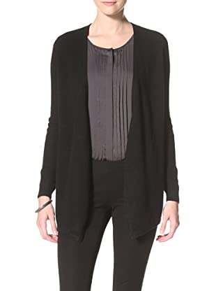 Christopher Fischer Women's Ribbed Sleeve Relaxed Cardigan (Black)