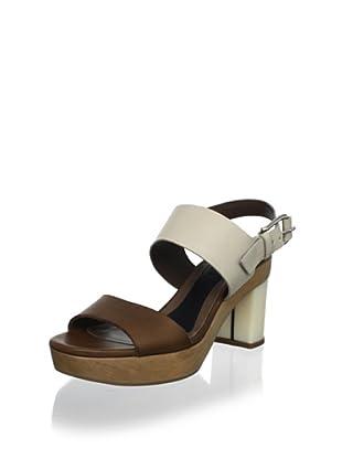 MARNI Women's Colorblock Sandal (Coffee/Alabaste)