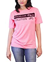 THESMO Women's Round Neck Cotton T-Shirt, Pink, S