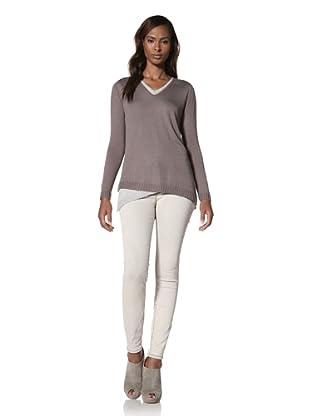 KOKUN Women's Layered V-Neck Sweater (Stone/Grey)