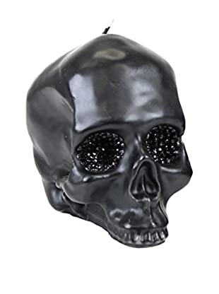 D.L. & Co. Large Black Skull Candle with Crystal Eyes