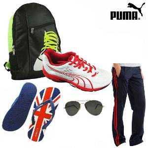 Puma Storm Red Shoes With Track Pants Hamper