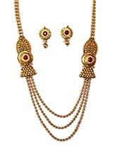 NAK's One Gram Gold Multi Strand Necklace with Earring,Antique Polki