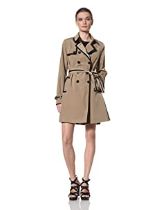 Jane Post Women's Downtown Trench with Edge Trim (Tan/Black)