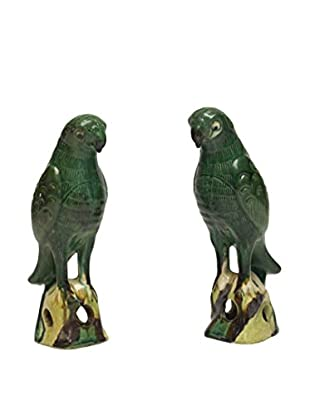 Asian Loft Set of 2 Ceramic Parrots, Green Multi