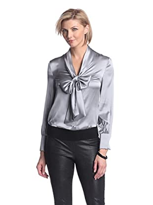 Zelda Women's Sigourney Blouse with Tie (Silver)