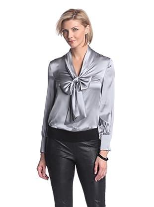 Zelda Women's Sigourney Blouse with Tie (Silver)