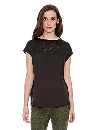 Cortefiel Camiseta Tachuelas (Negro)