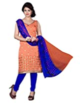 Lookslady Embroidered Orange Chanderi Dress Material