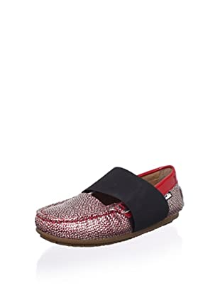 Venettini Kid's Lilly Mary-Jane Loafer (Toddler/Little Kid/Big Kid) (Red Silver Embossed)