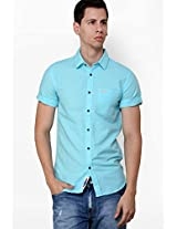 Solid Blue Casual Shirt Meltin