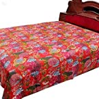 Double Bed Cover Katha Embroidered Red