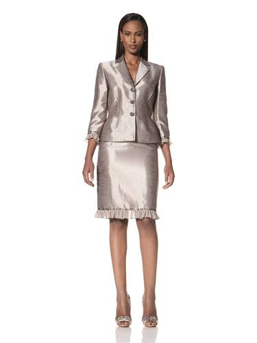 Tahari by A.S.L. Women's Peplum Jacket with Skirt (Taupe/Beige)