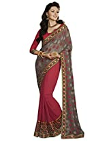 Indian Women Ravishing Georgette Jacquard Red Saree with Blouse