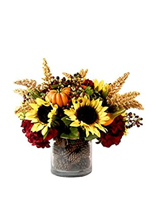 Creative Displays Sunflower Pine Cone Pot, Orange/Yellow/Burgundy/Crème
