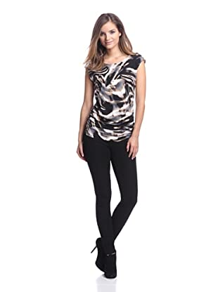 Calvin Klein Women's Printed Top with Shoulder Buttons (Camel Combo)
