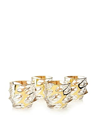 A Casa K Set of 4 Calypso Décor Crystal 8.5-Oz. Double Old Fashion Glasses, Clear/Gold