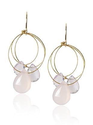Misha Amethyst & Pink Chalcedony Triple Circle Earrings