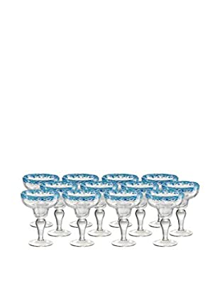 Artland Mingle Set of 12 Margarita Glasses, Turquoise