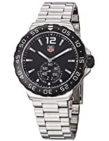 Tag Heuer Mens Black Dial Stainless Steel Quartz Watch (Silver/Black)