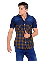 Sting Blue Solid Slim Fit Half Sleeve Cotton Casual Shirt -SG0011B137HM
