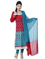 Chinese red embroidery readymade suit dupatta