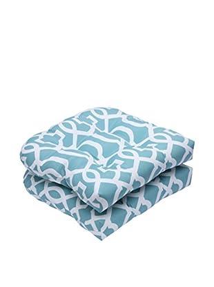 Pillow Perfect Set of 2 Indoor/Outdoor New Geo Aqua Wicker Seat Cushions, Green