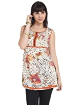 Diva Women's Cotton Floral Print Zipper Detail Off White Kurti - XL