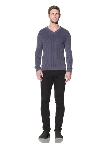 Hart Schaffner Marx Men's Stonewash Ribbed V-Neck Sweater (Blue)