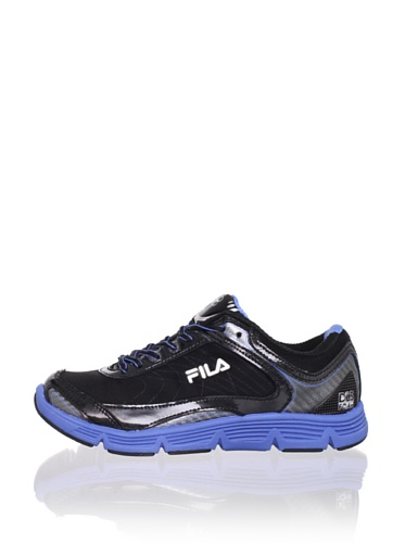 Fila Kid's Stencil Lite Running Shoe (Little Kid/Big Kid) (Black/Campanula/Metallic Silver)
