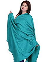 Exotic India Plain Kashmiri Tusha Shawl - Color Blue AtollColor Free Size