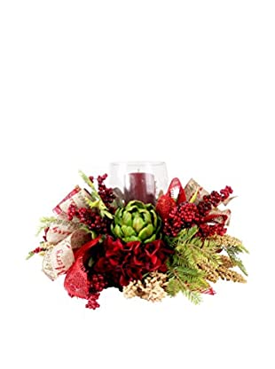 Creative Displays Holiday Hydrangea & Artichoke Candle Centerpiece, Burgundy/Green/Crème