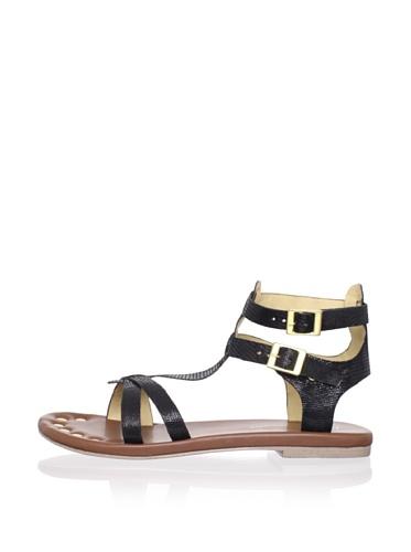 Matt Bernson Women's KM Gladiator Flat Sandal (Black)