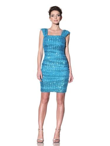 Badgley Mischka Women's Sequined Cocktail Dress (Mediterranean Blue)