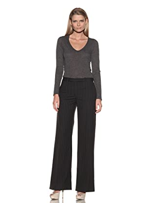 Loro Piana Women's Memphis Wide Leg Pinstriped Pant (Black/White)