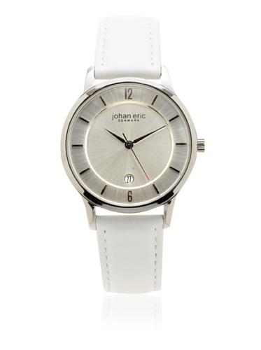 Johan Eric Men's JE2001-04-001 Hobro Silver Dial White Leather Watch