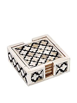 Purva Set of 4 Natural Cut Alhambra Coasters with Holder, White