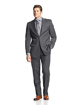 hickey Men's Striped 2 Button Center Vent Suit (Grey)