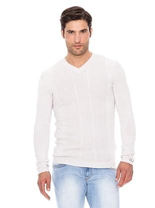 Calvin Klein Jeans Jersey Cuello Pico (Blanco)