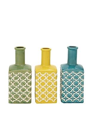 Set of 3 Assorted Ceramic Moroccan Vases, Multi