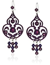 "Tarina Tarantino ""Iconic"" with Swarovski Crystals In Violet Storm Chandelier Earrings"