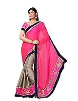 Dlines grey & Pink saree