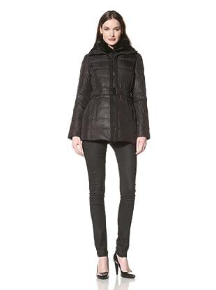 Nicole Miller Women's Puffer Jacket with Grosgrain Trim (Black)