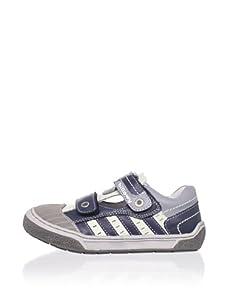 Billowy Kid's Dual Strap Sneaker (Grey/Black)