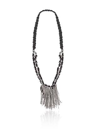 Cortefiel Collar Cadena Tejido (Negro)